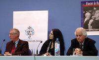 Son Excellence l'ambassadeur Huntzinger, Ronit Elkabetz et Katriel Schrory