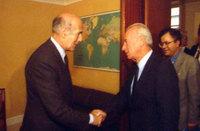 Le Président Valéry Giscard d'Estain et le PM Yitzhak Rabin